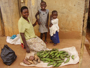 A-Z Children's Charity: Zam – a beneficiary of A-Z's microfinance scheme – with Patrick and Esther, all HIV infected, all healthy